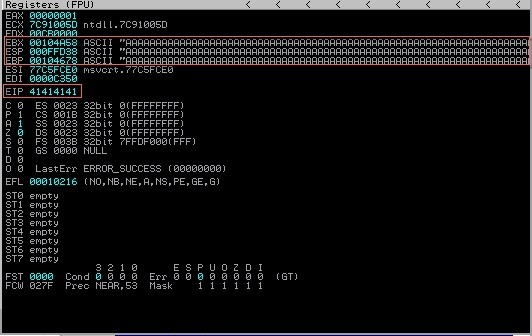 Screenshot of CPU Register, provided by NullBytes